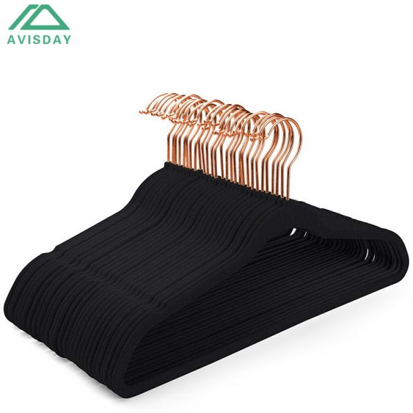 Avisday Velvet Hangers Black Non-Slip Anti-Rust Silver Hook Clothes Organizer With Notches