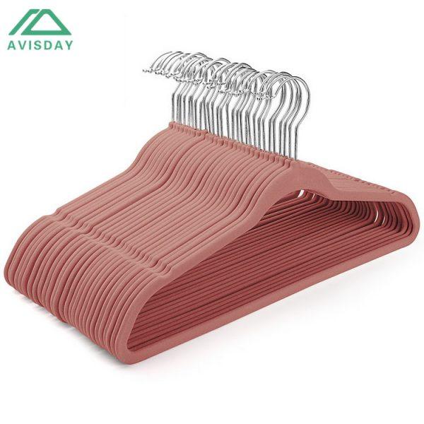 Avisday Pink Velvet Hangers Durable Non-Slip Swivel Hook Customized Printing Logo