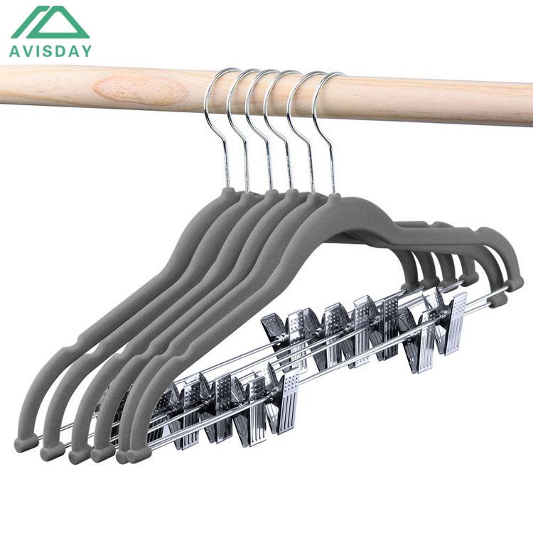 Avisday Grey Velvet Apparel Hanger Sling Gap Design Silver Swivel Hook Anti-Rust Metal Clip