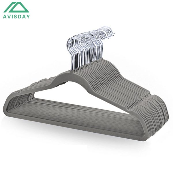 Avisday Top Grade Grey Velvet Hangers Sturdy Anti-Rust Silver Hook Notches For Strappy Clothes